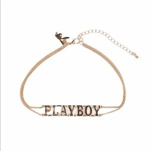 Playboy Gold Look Double Chain Necklace